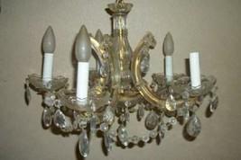 VINTAGE ITALIAN VENETIAN MURANO GLASS CHANDELIER PRISMS RIBBONS MID CENTURY - $425.99