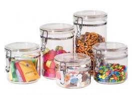 Oggi 9322 5-Piece Acrylic Canister Set with Airtight Clamp Lids-Food Sto... - $30.78