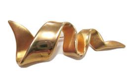 Vtg MJENT M JENT Matte Gold Tone Ribbon Zig Zag Lightening Bolt BROOCH P... - $14.99