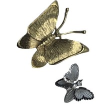 Vtg Lot Of 2 Monet Butterfly Brooch Gold & Silver Tone Signed - $16.79