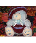 Baby Blue Plush Teddy Bear with Hand Crocheted Outfit - $10.95