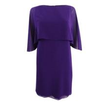 Vince Camuto Shift Dress Womens Cape Overlay Chiffon Purple Size 8 NWT $148 - $39.99