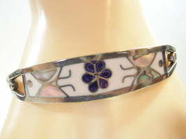 Inlaid MOTHER of PEARL Silver Mexico Hinged Bracelet Flower Butterfly Vi... - $14.84