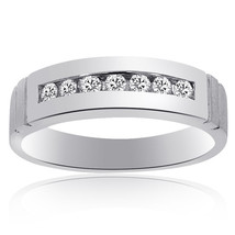 0.35 Carat Mens Round Cut Diamond Wedding Band 14K White Gold - $608.85
