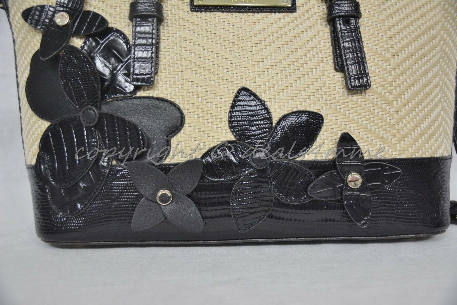 NWT Brahmin Mini Asher Satchel/Shoulder Bag in Black Miramonte-Cream with Black image 11