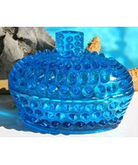 Vintage Blue Hobnail Covered Art Glass Candy Dish Trinket Box Italy - $36.95