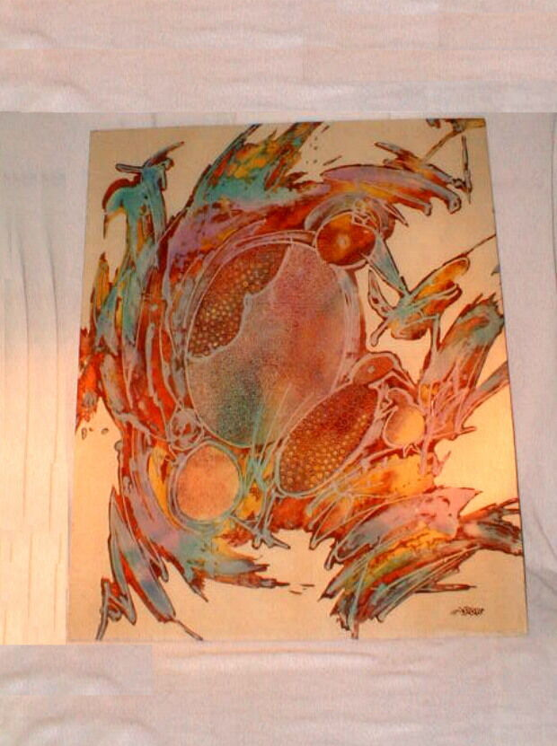 art serigraph silkscreen silk screen contemporary fabric 1960s  signed
