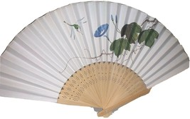 """Beautiful Off White Floral With Firely Green Blue 14"""" Hand Fan - $11.10"""