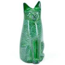 Vaneal Group Hand Carved Kisii Soapstone Green Sitting Kitty Cat Figurine Kenya image 1