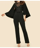 Mesh Insert Applique Cape Cloak Sleeve Jumpsuit Playsuit Romper Blouse T... - $53.09