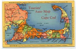 Tourist Auto Map Cape Cod Massachusetts linen postcard - $5.89
