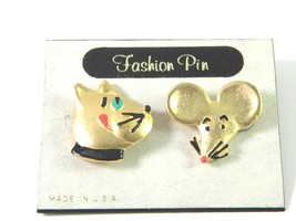 Cute AJC Vintage Figural Cat and Mouse lapel Pins - $14.39