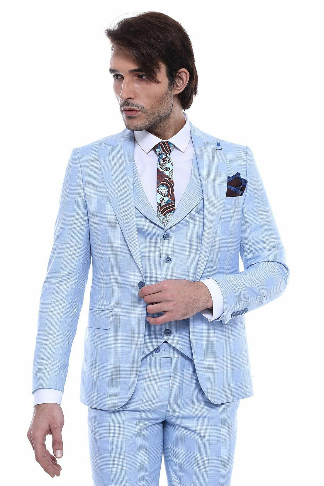 Primary image for Men 3pc Vested Suit Turkey WESSI , J.VALINTIN Slim Fit 132-22 English Plaid Blue