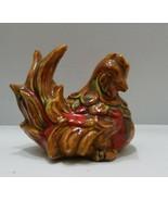 "Vintage Beautiful Ceramic orange Chicken Hen Resting Detailed 7.5"" Farmh... - $9.70"