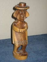 """Carved Brown Wood Statue of Old Man Pointed Chin Nose w/ Hat """"Paco The T... - $15.79"""