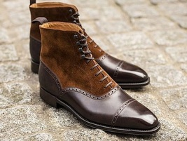 Handmade Brown Leather & Suede High Ankle Lace Up Boots For Men image 1