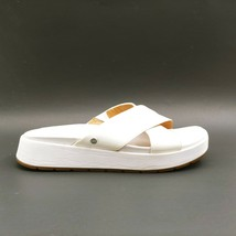 Ugg Womans Wedge Slide Sandals White Cross Straps Cushioned Insole Sz 8.... - $69.29