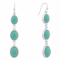 Liz Claiborne Women's Blue Drop Earrings Silver Tone NEW - $14.84