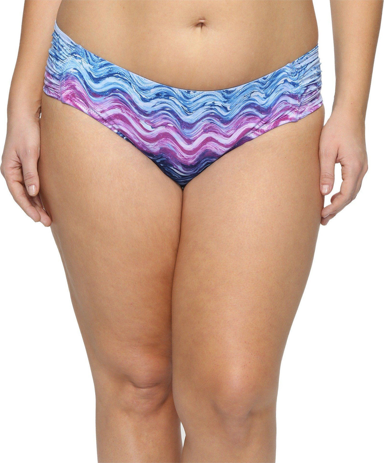 Primary image for  NEW BECCA Cosmic Tab Sides Tie Dye Marble Plus Size Bikini Bottom 1X 16-18