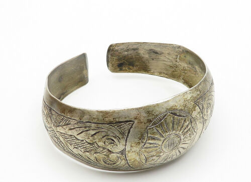RUSSIA 925 Silver - Vintage Antique Floral Swirl Pattern Cuff Bracelet - B6170 image 4
