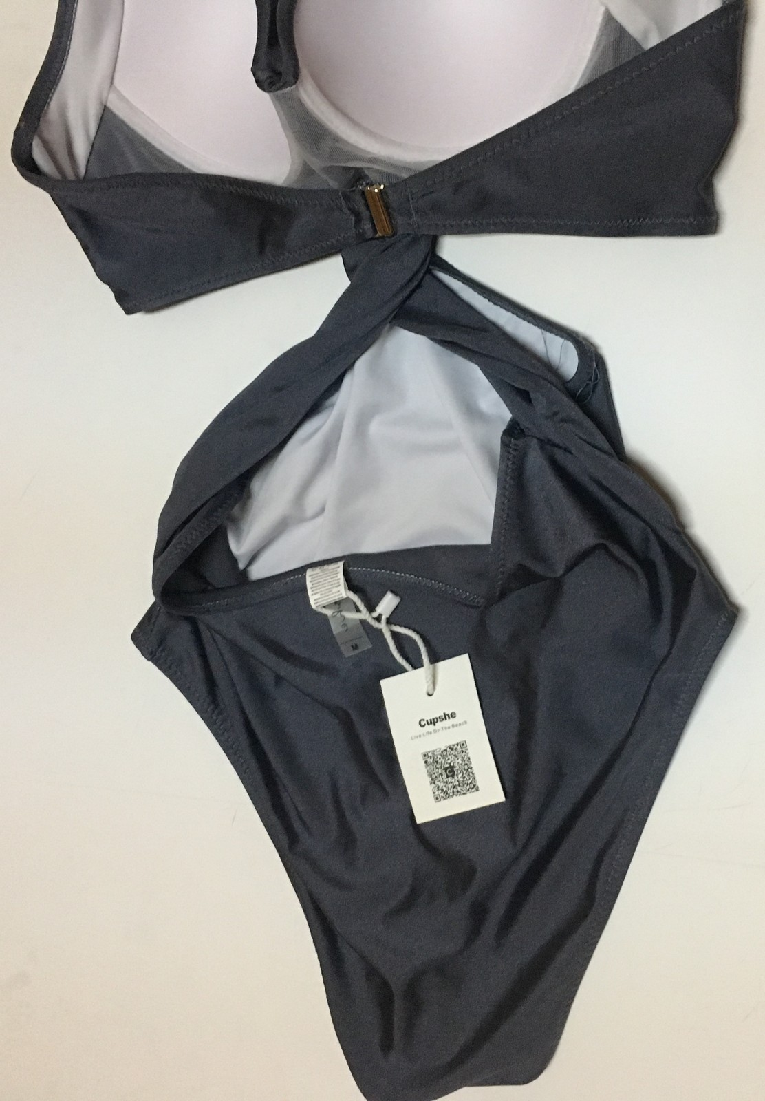 CUPSHE One Piece Swimsuit Silver Padded NWT Sz M