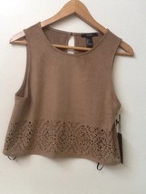 New Forever 21 Tan Womens Sleeveless Crop Tank Top Cutout Designs Soft S Nwt - $15.95
