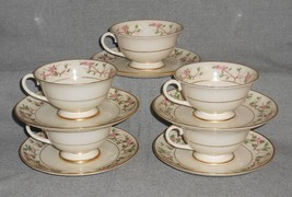 Set (5) Franciscan China WOODSIDE PATTERN Cups and Saucers CALIFORNIA - $23.75