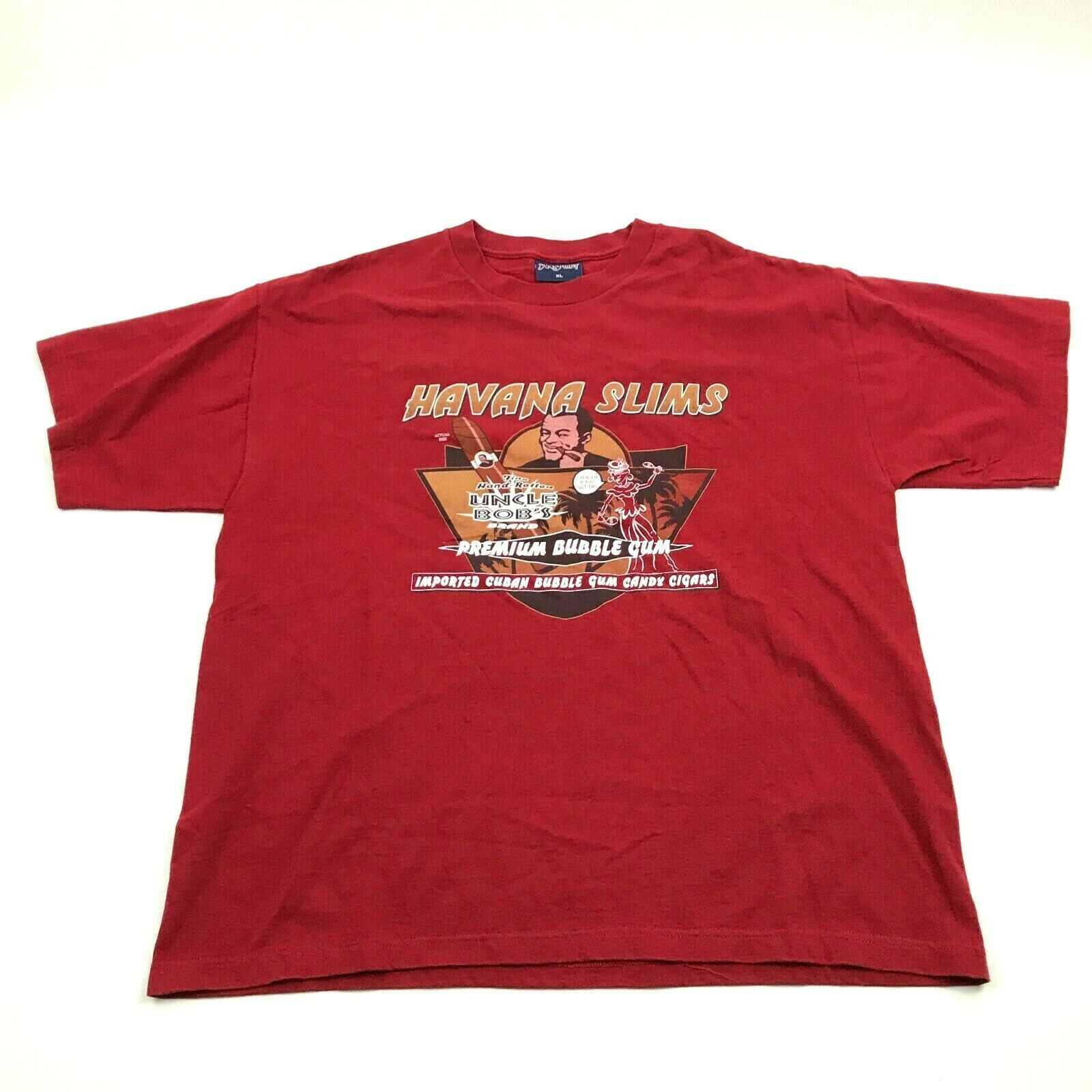 NEW VINTAGE JanSport Havana Slims Bubblegum Cigar Shirt Size XL Extra Large Red - $23.53