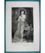 QUEEN of Autumn Lovely Maiden Cherub - Antique Photogravure Print - $16.84