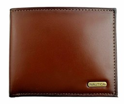 Nautica Men's Premium Leather Credit Card Id Wallet Billfold Tan 31Nu22X023