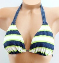 SO Swim Junior Women Bikini Swimwear Top Padded Triangle Blue White Lime XS - $9.99