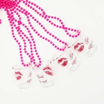 4 Girls Night Out Pink Shot Glass Necklace Bachelorette Favor GNO Access... - $9.99