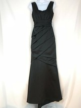 David's Bridal Women Dress Formal Square Neck Black Draped Evening Long ... - $28.44