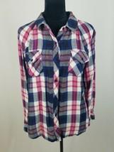 Rails women L Kendra plaid button down shirt navy red long sleeve - $49.59