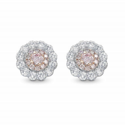 Primary image for 0.62Cts Pink Diamond Halo  Earrings Set in 18K White Rose Gold