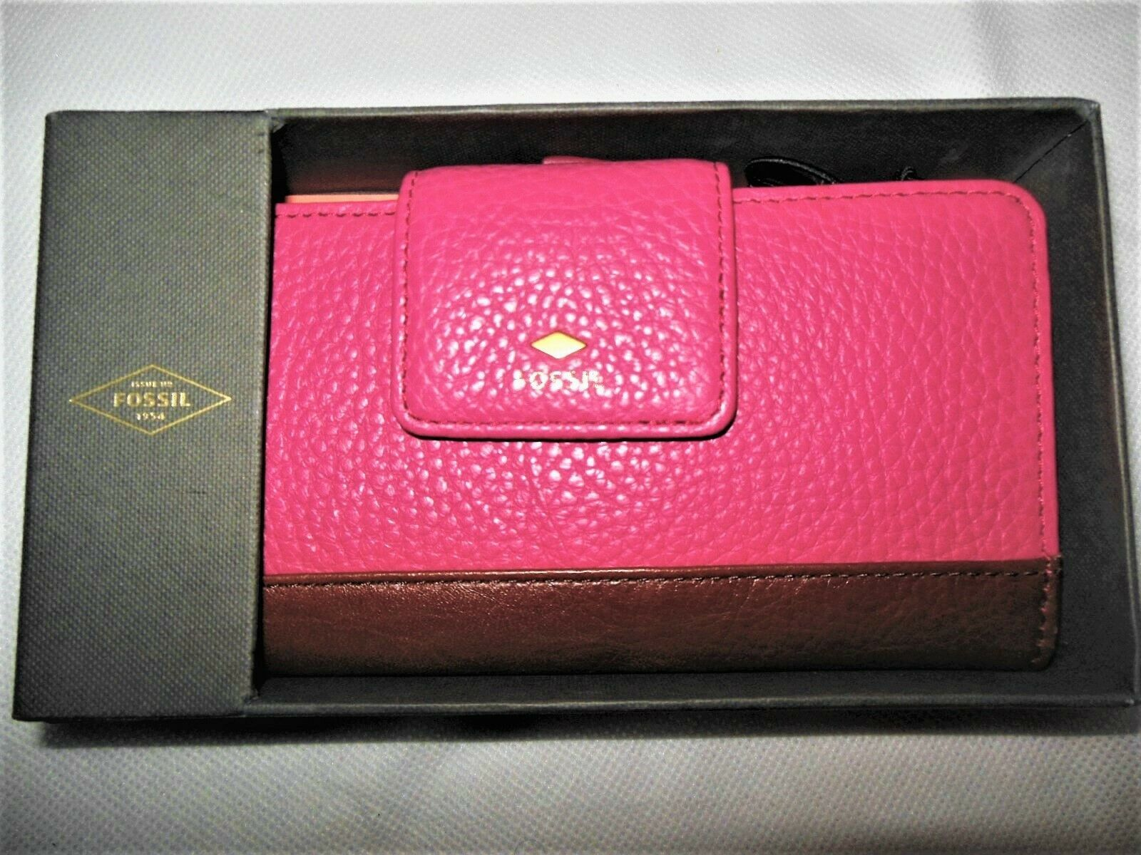 NEW Fossil Card Organizer Wallet Pink Pebble Mother's Day Leather Gift Boxed