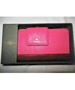 NEW Fossil Card Organizer Wallet Pink Pebble Mother's Day Leather Gift B... - $29.00