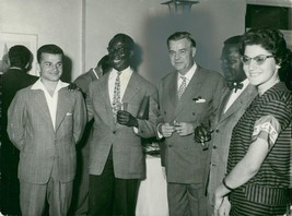 Vintage photo of Gunnar Myrdal flanked by p. A. The author Thomas Diop f... - $9.41