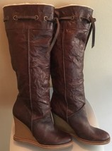 JESSICA SIMPSON brown leather Faux Fur Lined pull on wedge tall BOOTS Sz... - $44.50