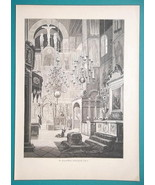 RUSSIA Moscow Cathedral of Archangel Interior - 1880s Wood Engraving Print - $25.20