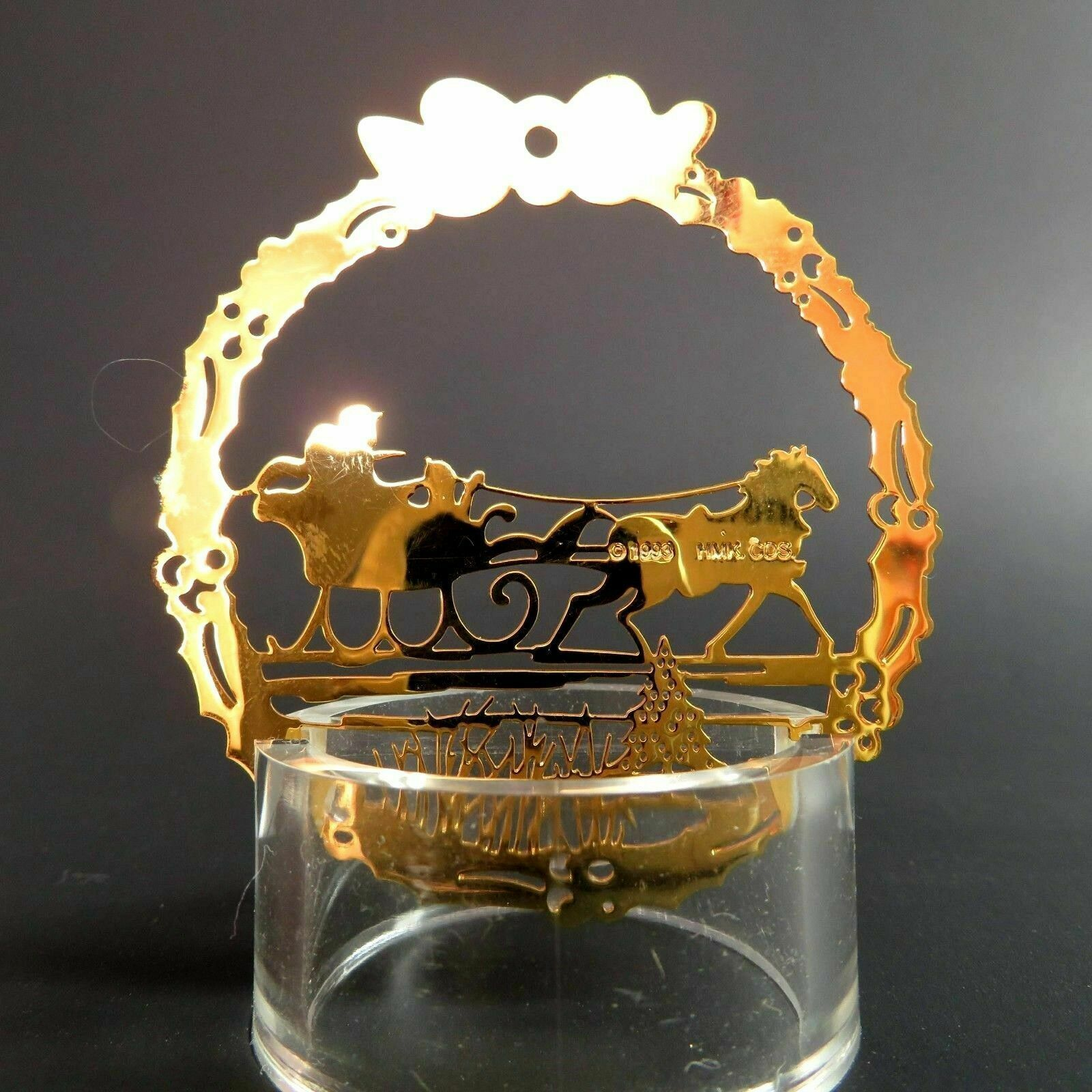 Vintage Sleigh Ride Christmas Ornament Hallmark Gold Metal Etched Embossed Scene image 2
