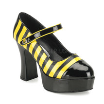 "FUNTASMA Buzz-66 4"" Heel Platform Pump - Black-Yellow Patent - $28.95"