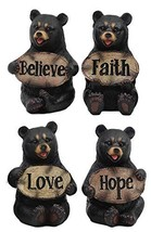 Ebros Set of Four Inspirational Bears Statues Whimsical Cute Black Bear Holding  - $44.99