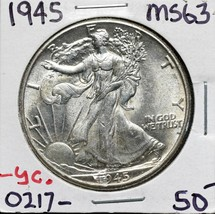 1945 Walking Liberty Half Dollar 90% Silver Coin Lot# A 577