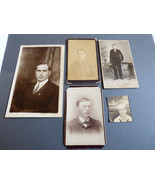LOT OF 5 VINTAGE ANTIQUE PHOTOGRAPH CABINET PHOTO  POSTCARDS MEN PORTRET... - $23.76