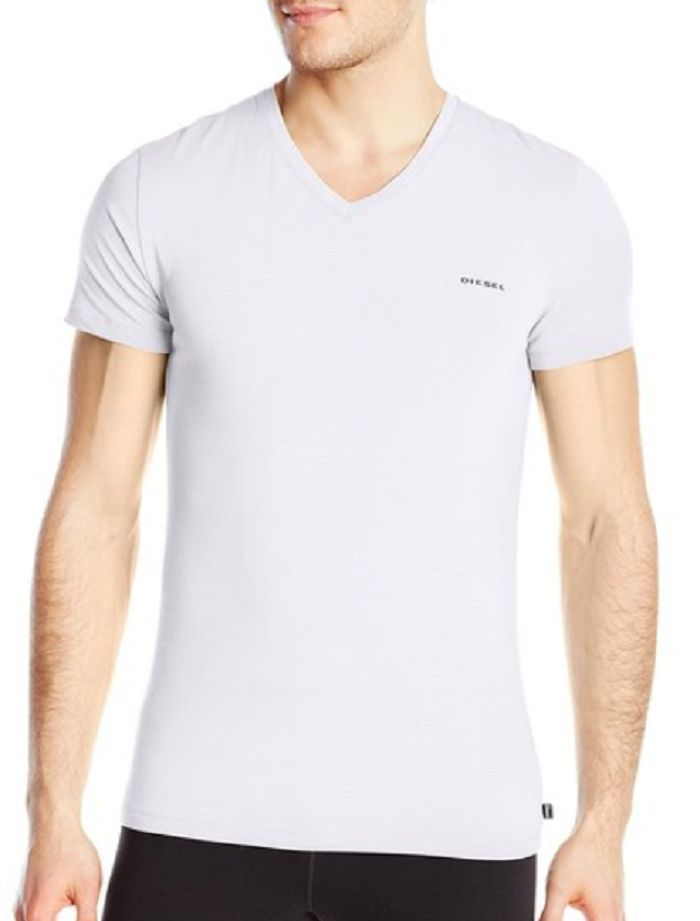 Diesel Men's Underwear, Michael V-Neck T-Shirt , White, Size S