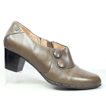 Clarks Unstructured Womens Brown Leather Zip Side w Cute Buttons Casual Shoes 8M - $24.99