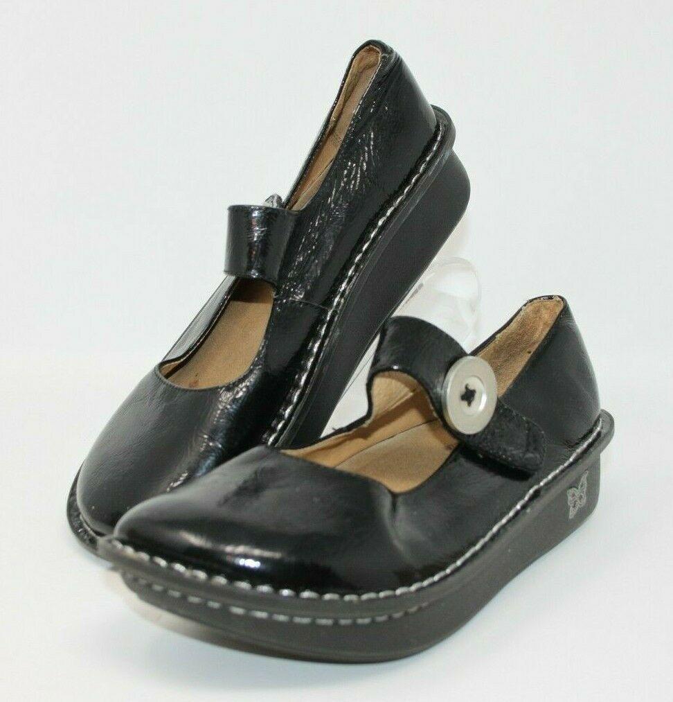 Alegria Size 38 Paloma Black Silver Design Mary Jane Leather Comfort Nurse Shoes image 2