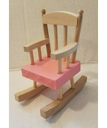 Wooden Doll House Rocking Chair Kids Dollhouse Play Toy Gift Pre-owned Pink - $9.89