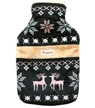 Hand Warmer Plush Ethnic Style Deer Hot Water Bottle With CoverBlack - $26.27